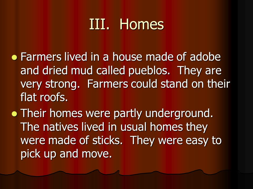 III. Homes Farmers lived in a house made of adobe and dried mud called pueblos. They are very strong. Farmers could stand on their flat roofs.