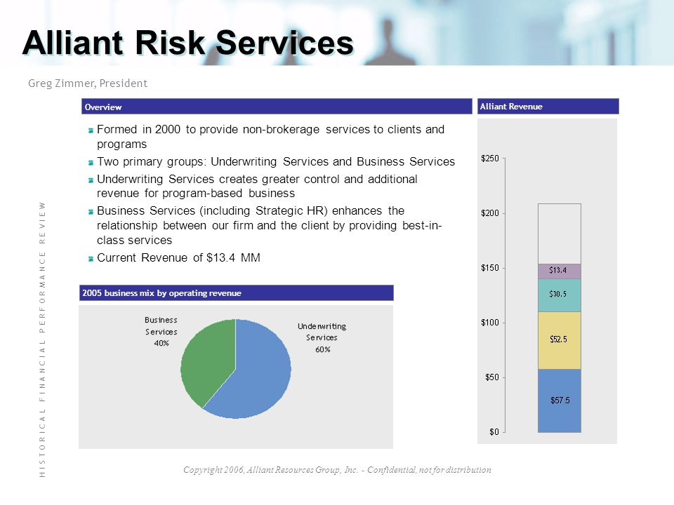 Alliant Risk Services Greg Zimmer, President. Overview. Alliant Revenue. Formed in 2000 to provide non-brokerage services to clients and programs.