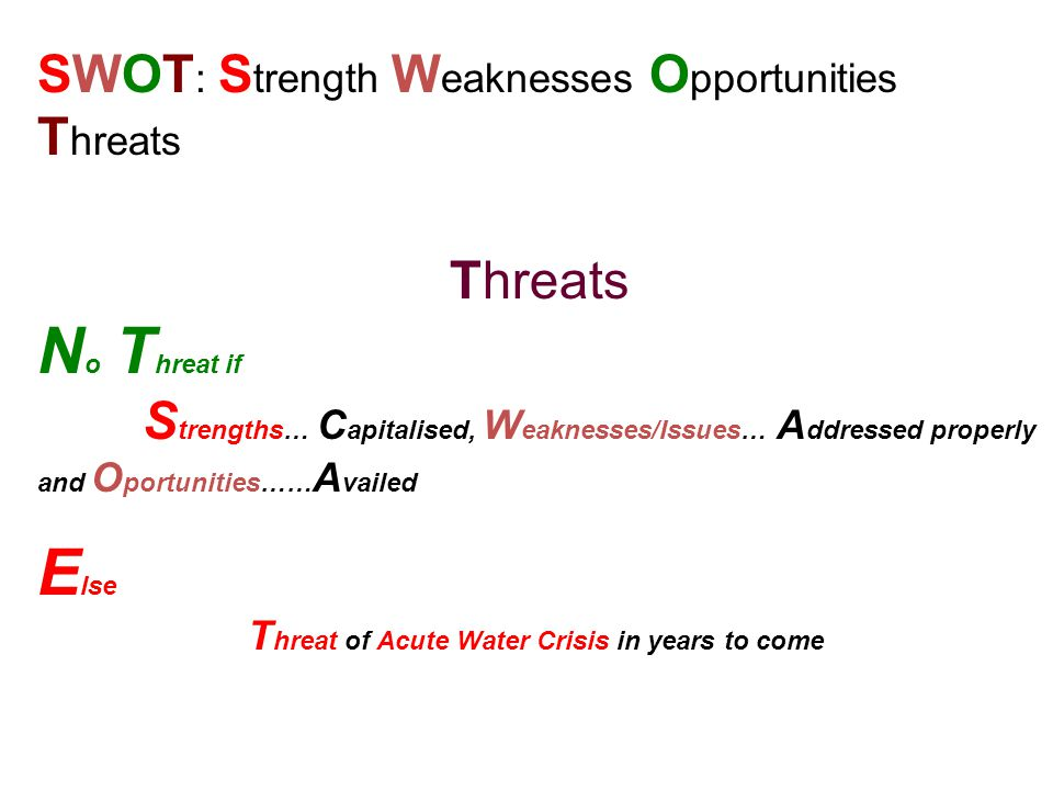 No Threat if Else SWOT: Strength Weaknesses Opportunities Threats