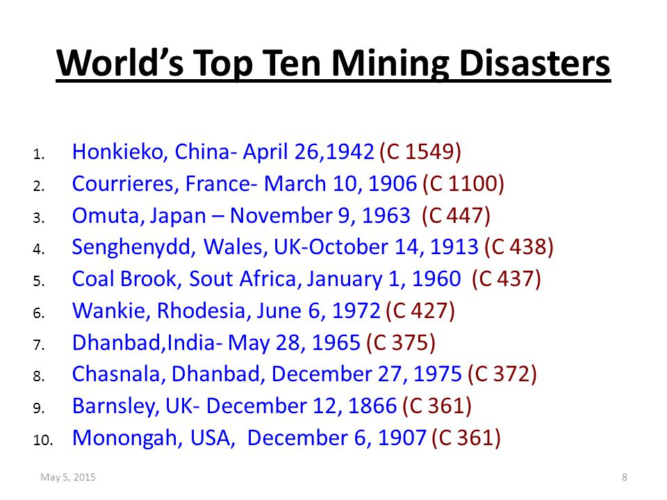 World's Top Ten Mining Disasters