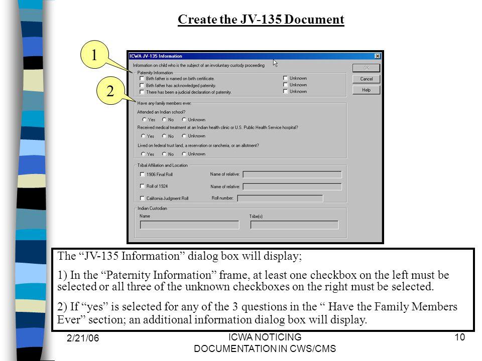 Create the JV-135 Document