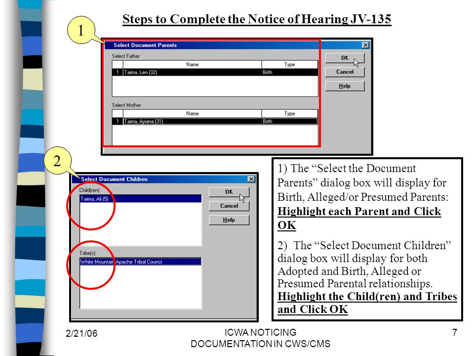 Steps to Complete the Notice of Hearing JV-135