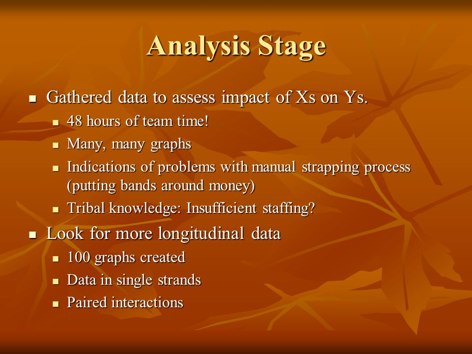 Analysis Stage Gathered data to assess impact of Xs on Ys.