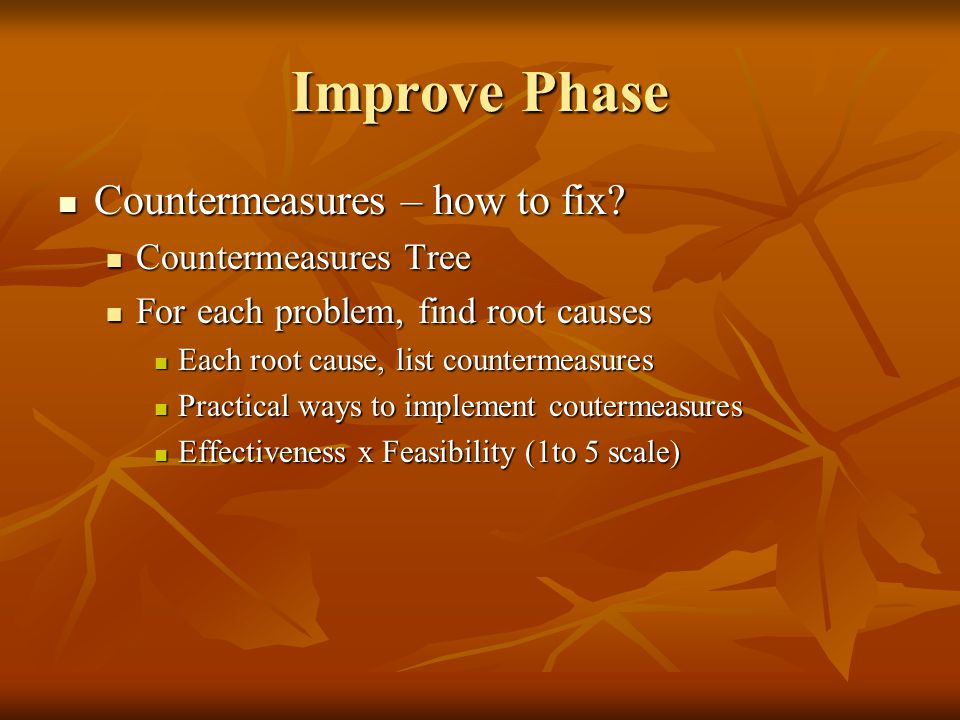 Improve Phase Countermeasures – how to fix Countermeasures Tree