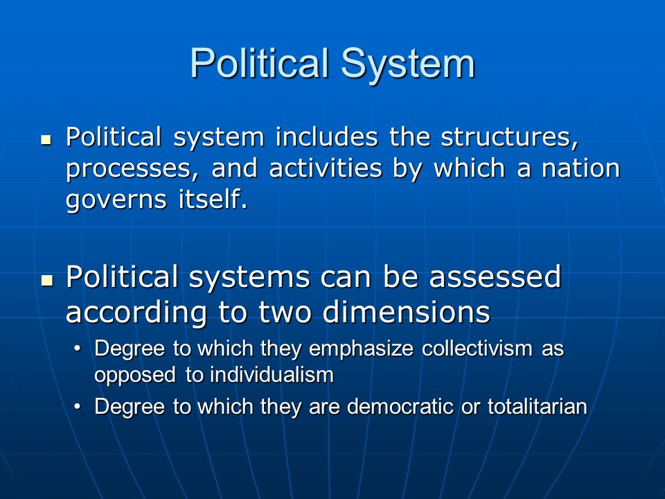 Political System Political system includes the structures, processes, and activities by which a nation governs itself.
