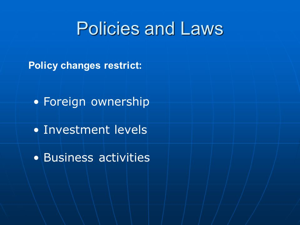 Policy changes restrict: