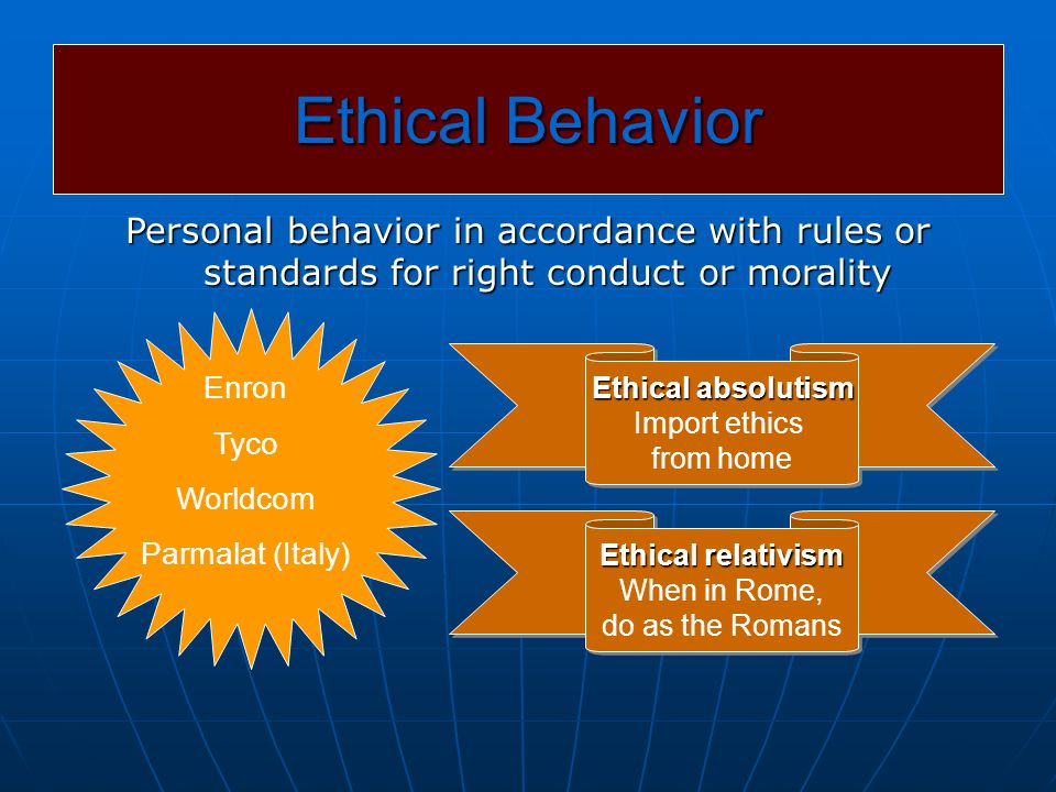 Ethical Behavior Personal behavior in accordance with rules or standards for right conduct or morality.