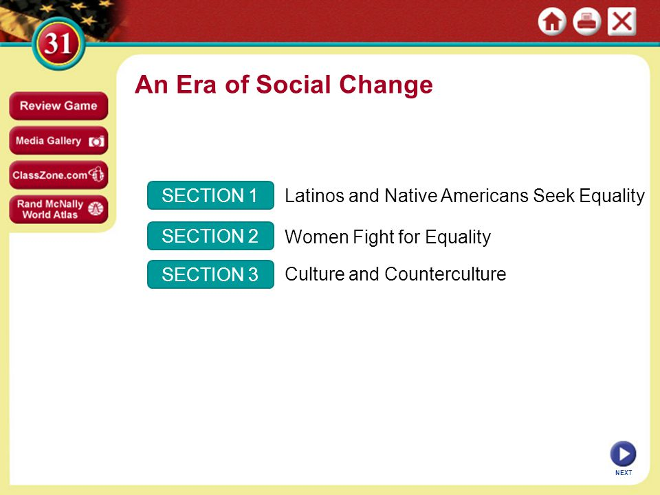 An Era of Social Change SECTION 1
