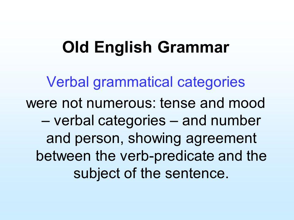 Verbal grammatical categories