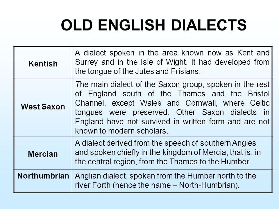 OLD ENGLISH DIALECTS Kentish
