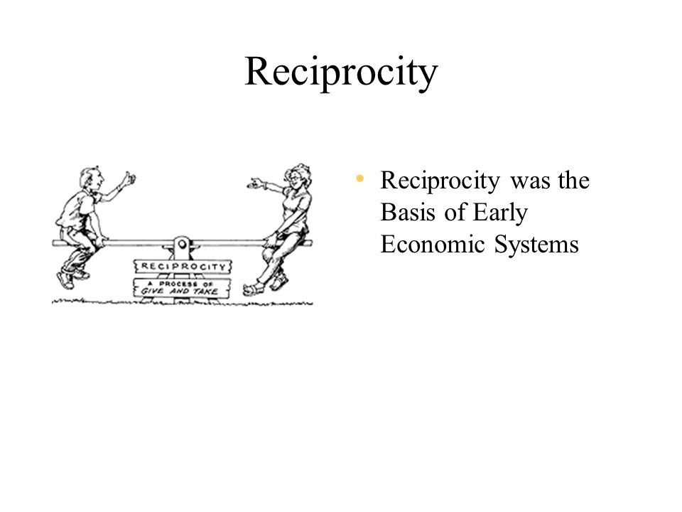 Reciprocity Reciprocity was the Basis of Early Economic Systems