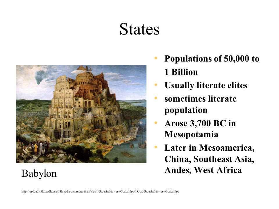 States Babylon Populations of 50,000 to 1 Billion