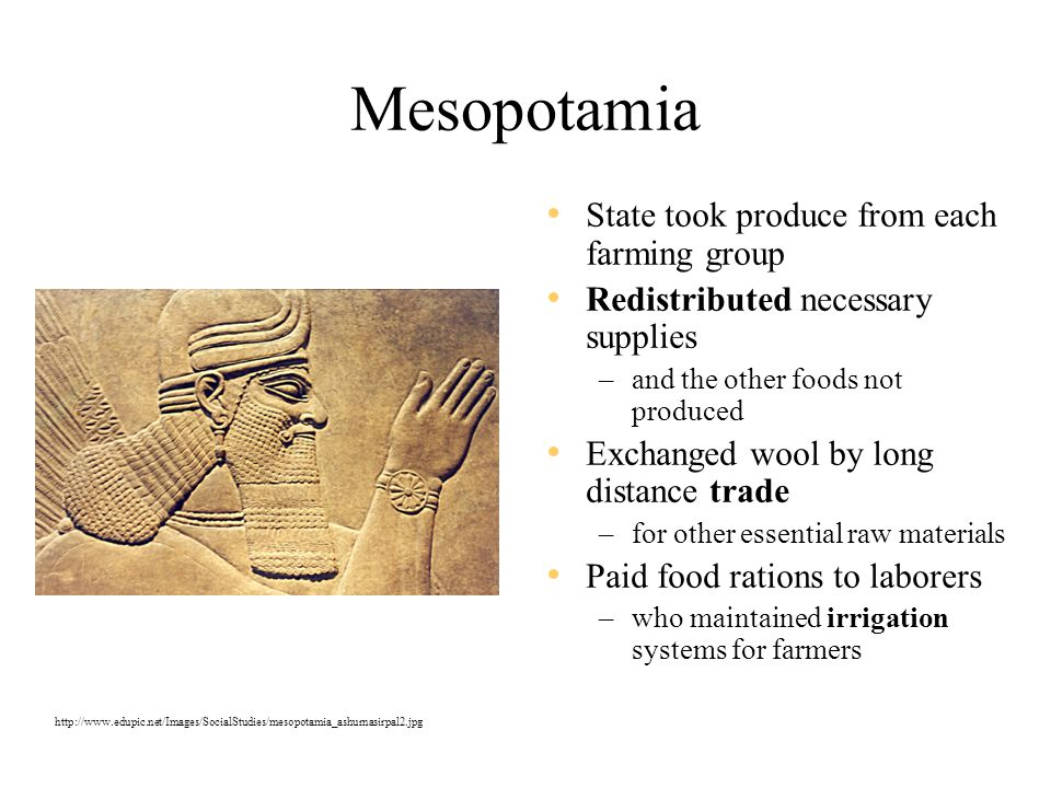 Mesopotamia State took produce from each farming group