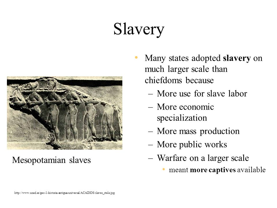 Slavery Many states adopted slavery on much larger scale than chiefdoms because. More use for slave labor.