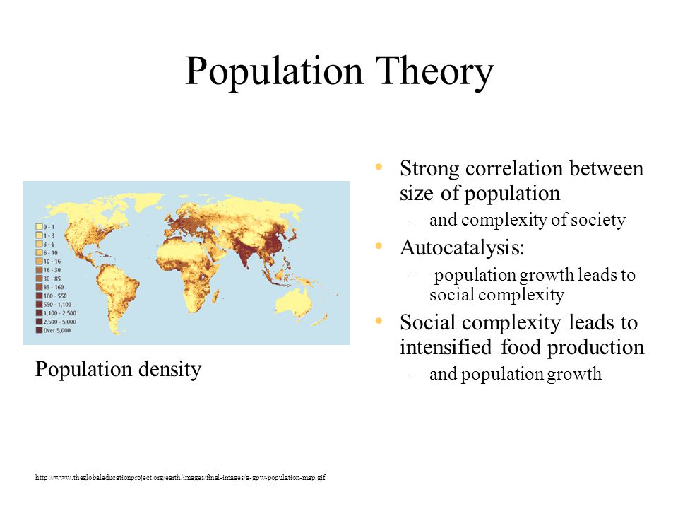 Population Theory Strong correlation between size of population