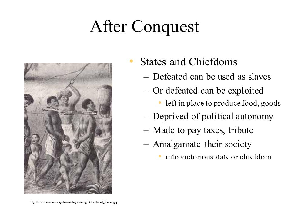 After Conquest States and Chiefdoms Defeated can be used as slaves