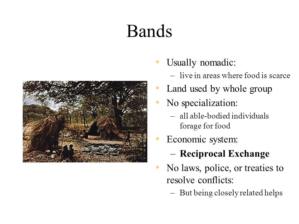 Bands Usually nomadic: Land used by whole group No specialization: