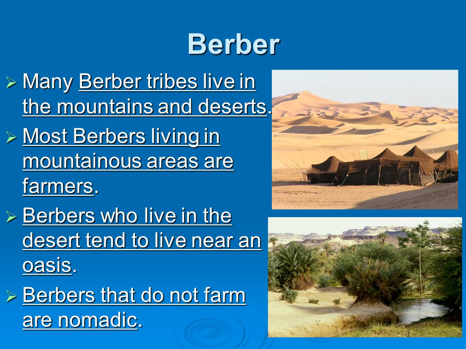 Berber Many Berber tribes live in the mountains and deserts.