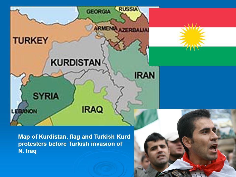 Map of Kurdistan, flag and Turkish Kurd protesters before Turkish invasion of
