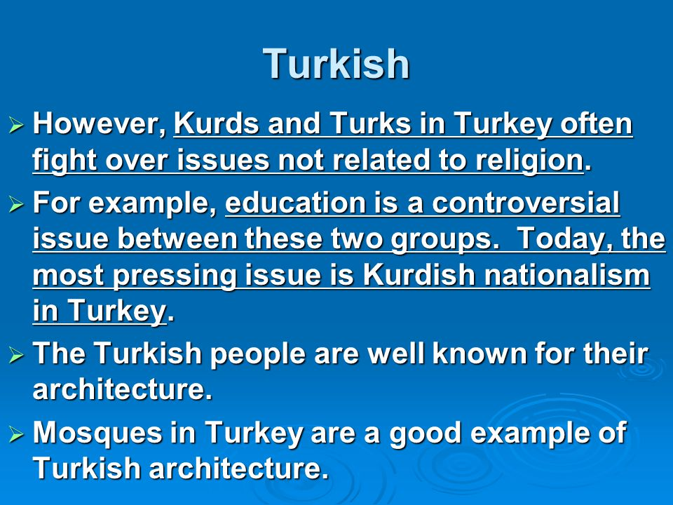 Turkish However, Kurds and Turks in Turkey often fight over issues not related to religion.
