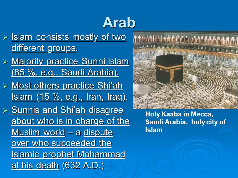 Arab Islam consists mostly of two different groups.