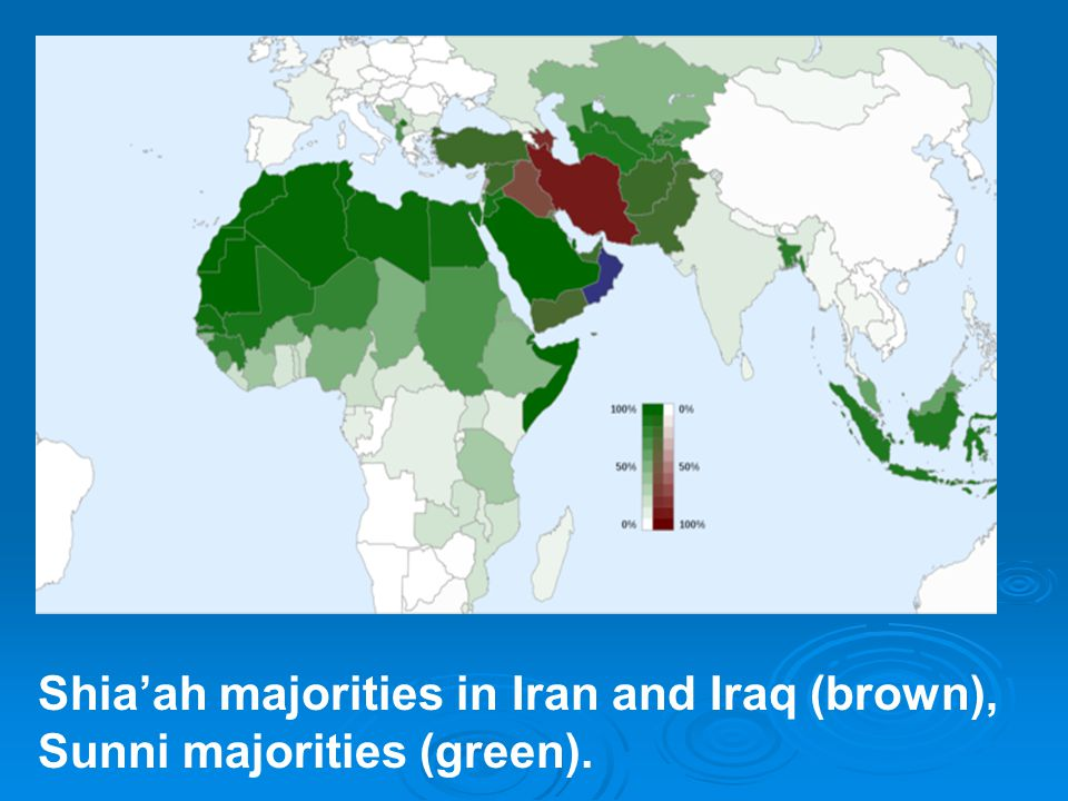 Shia'ah majorities in Iran and Iraq (brown), Sunni majorities (green).