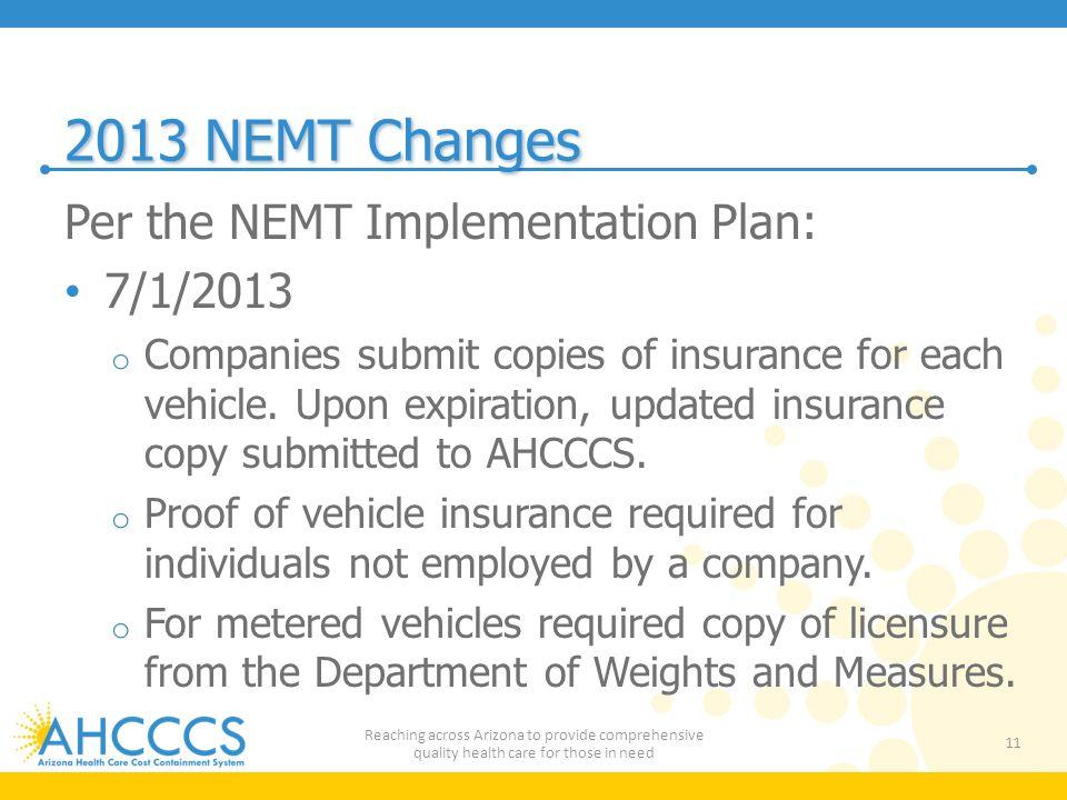 2013 NEMT Changes Per the NEMT Implementation Plan: 7/1/2013
