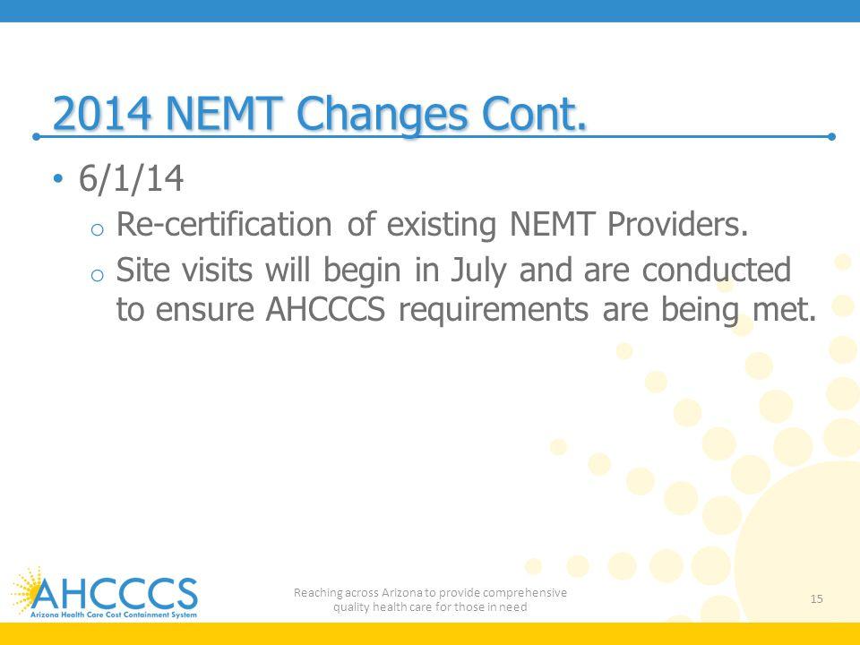 2014 NEMT Changes Cont. 6/1/14. Re-certification of existing NEMT Providers.