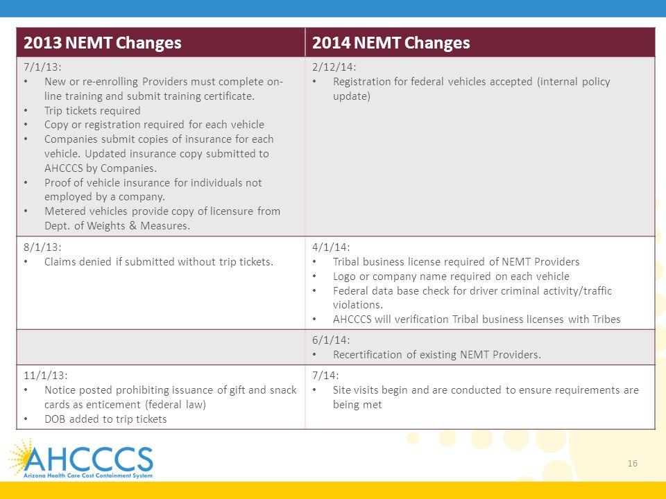 2013 NEMT Changes 2014 NEMT Changes 7/1/13: