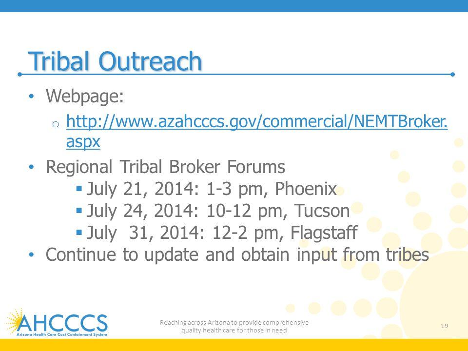 Tribal Outreach Webpage: Regional Tribal Broker Forums