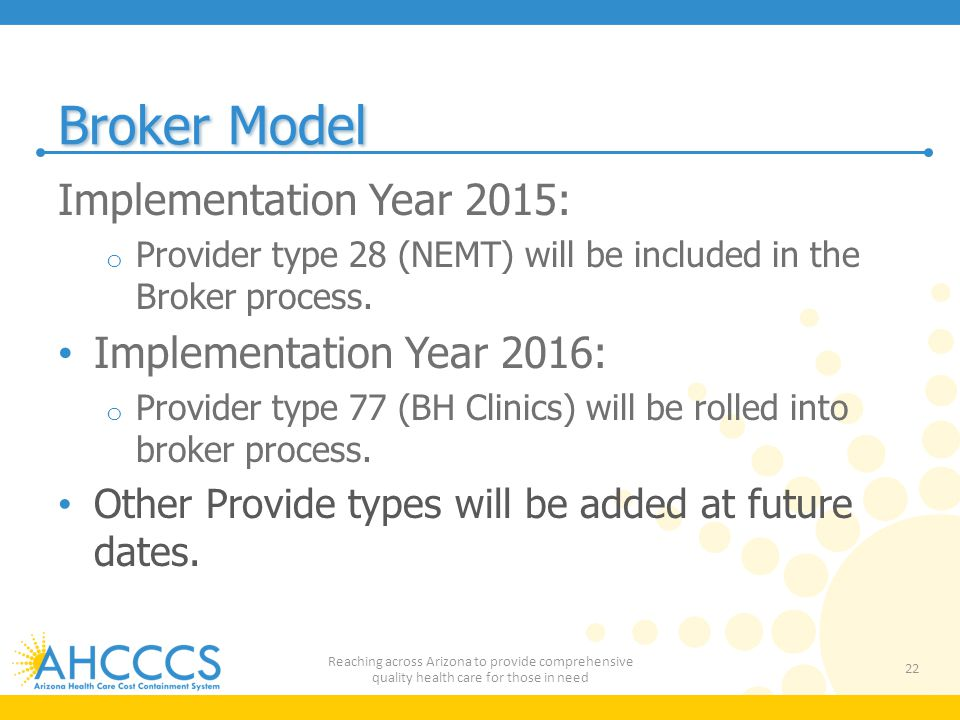Broker Model Implementation Year 2015: Implementation Year 2016: