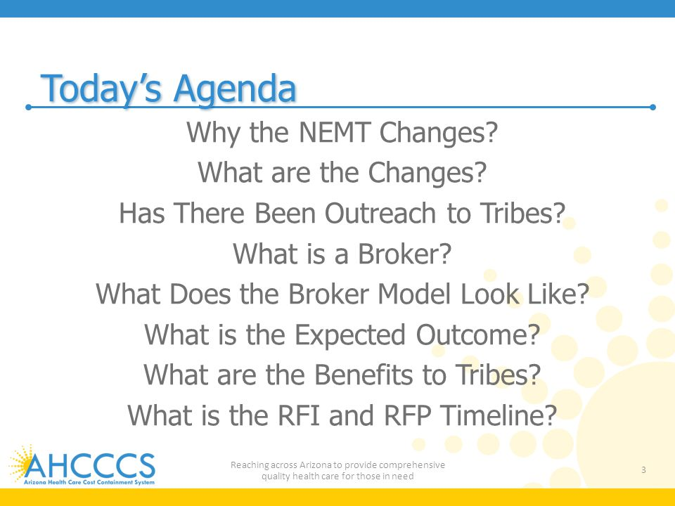 Today's Agenda Why the NEMT Changes What are the Changes