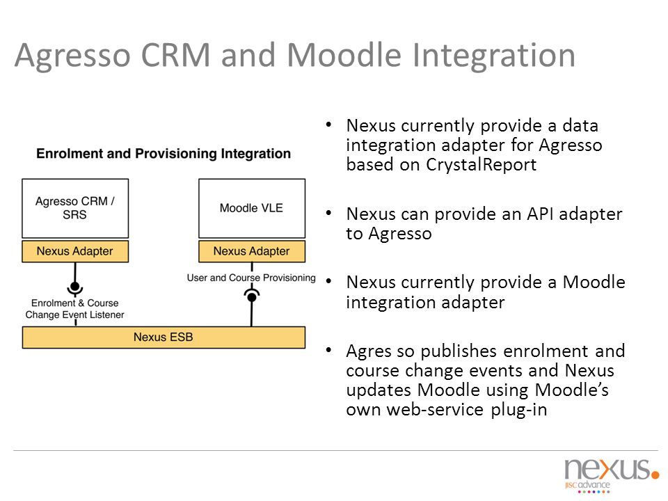 Agresso CRM and Moodle Integration
