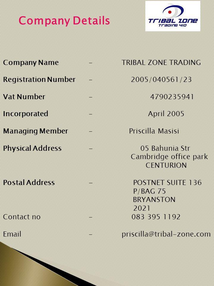 Company Details Company Name - TRIBAL ZONE TRADING