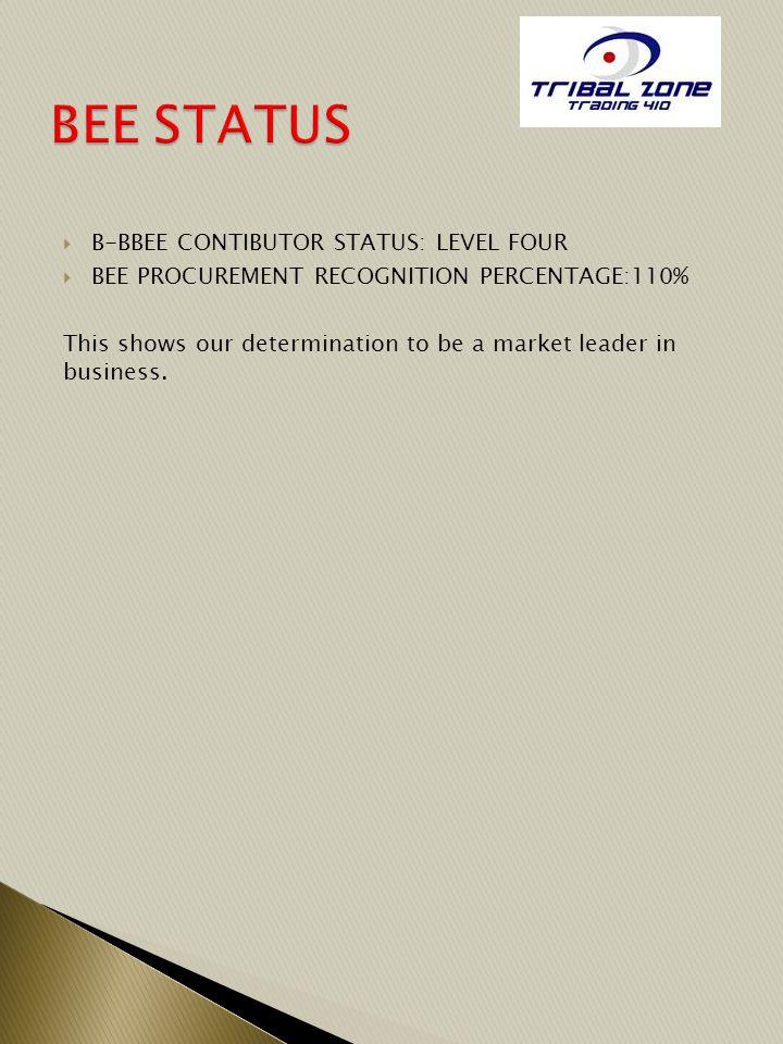 BEE STATUS B-BBEE CONTIBUTOR STATUS: LEVEL FOUR