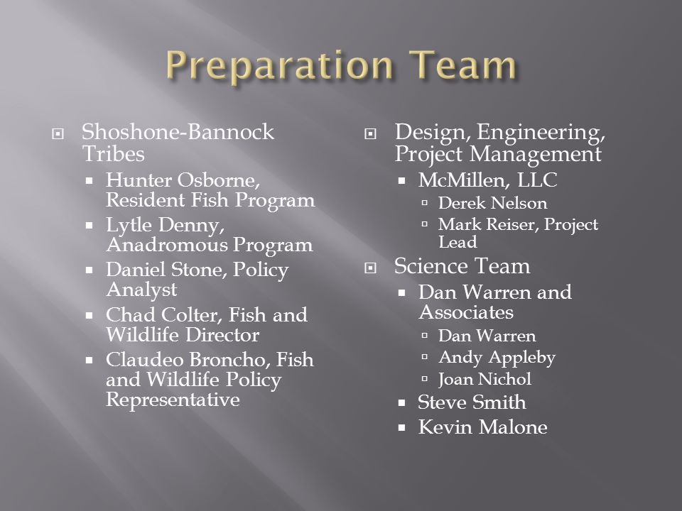 Preparation Team Shoshone-Bannock Tribes