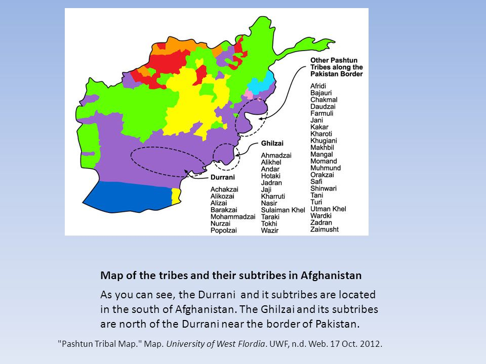 Map of the tribes and their subtribes in Afghanistan