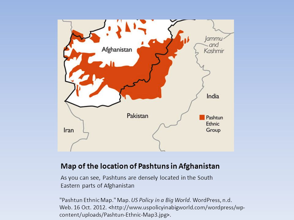 Map of the location of Pashtuns in Afghanistan