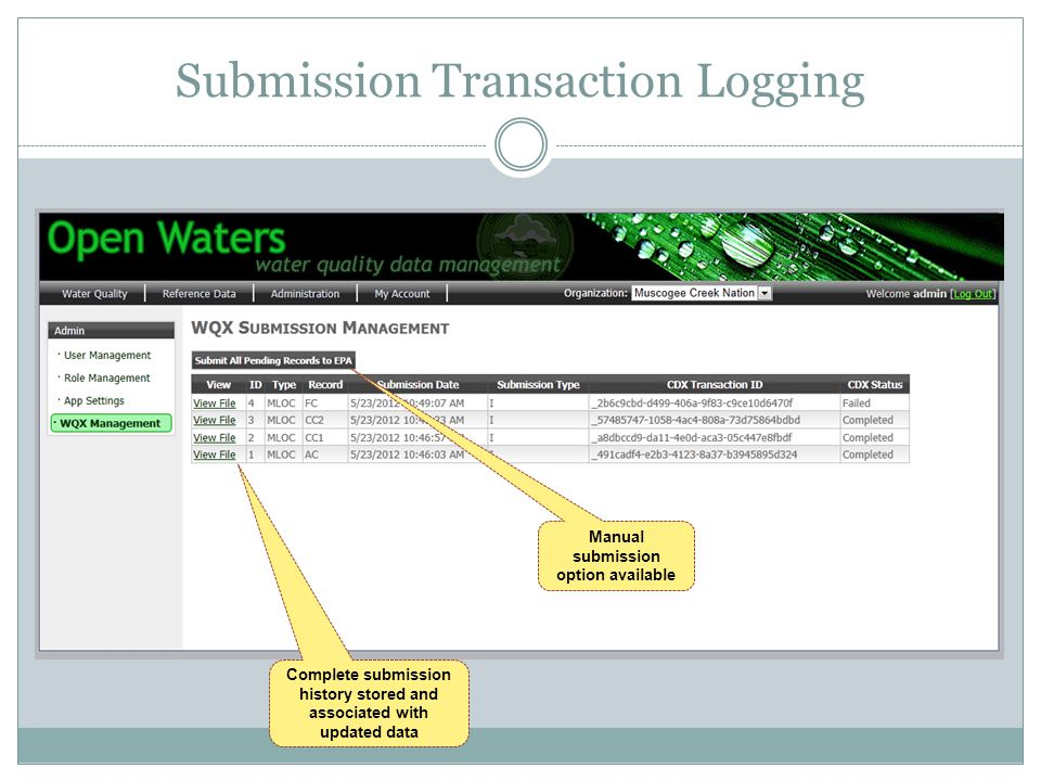 Submission Transaction Logging