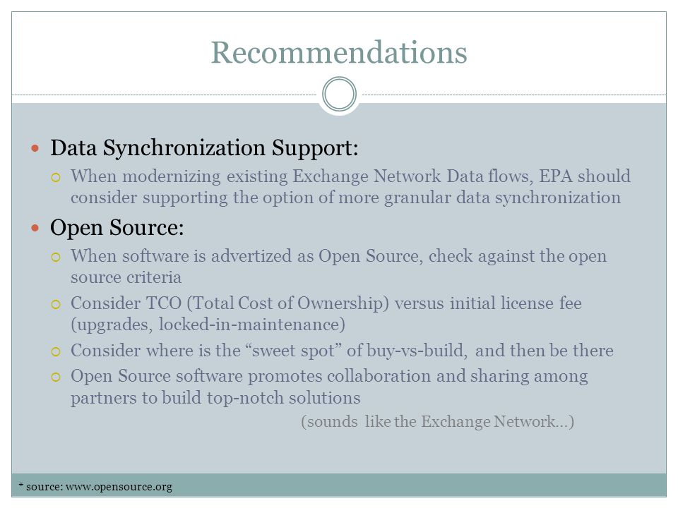 Recommendations Data Synchronization Support: Open Source: