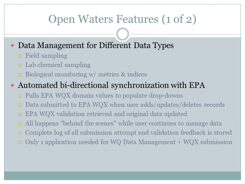 Open Waters Features (1 of 2)