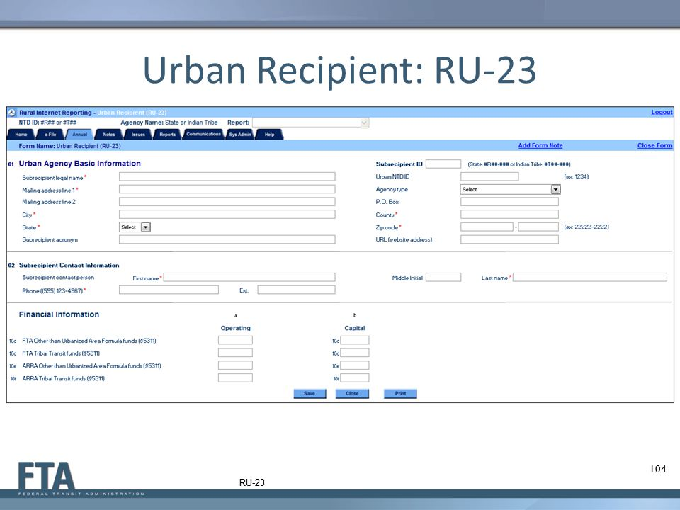 Urban Recipient: RU-23 RU-23