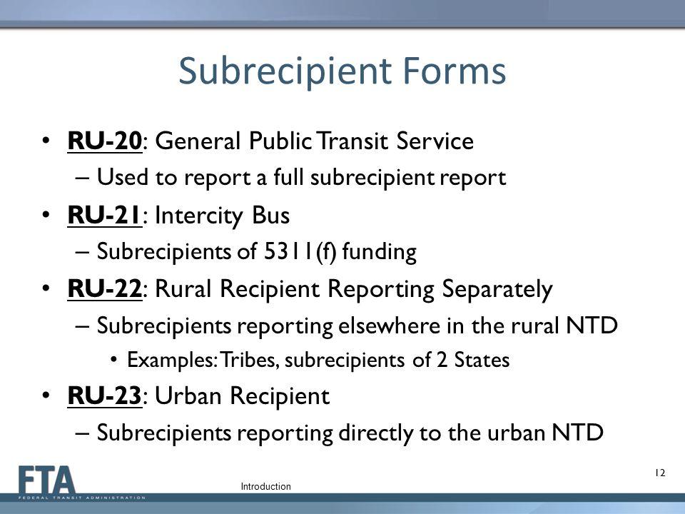 Subrecipient Forms RU-20: General Public Transit Service