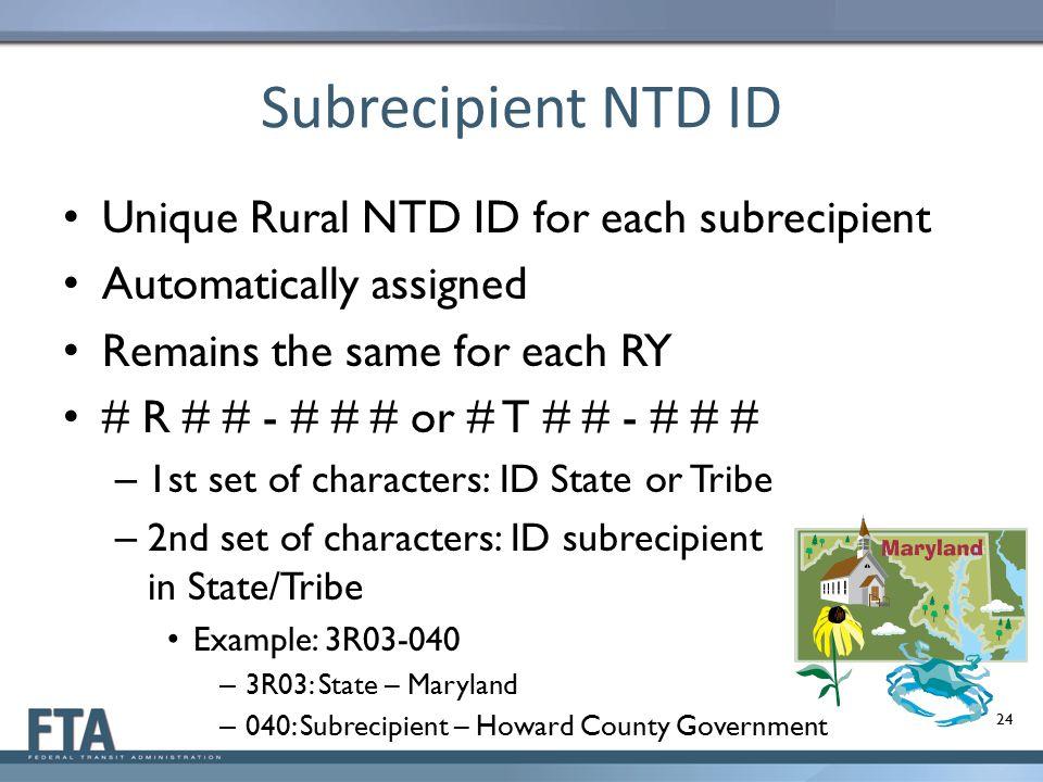 Subrecipient NTD ID Unique Rural NTD ID for each subrecipient