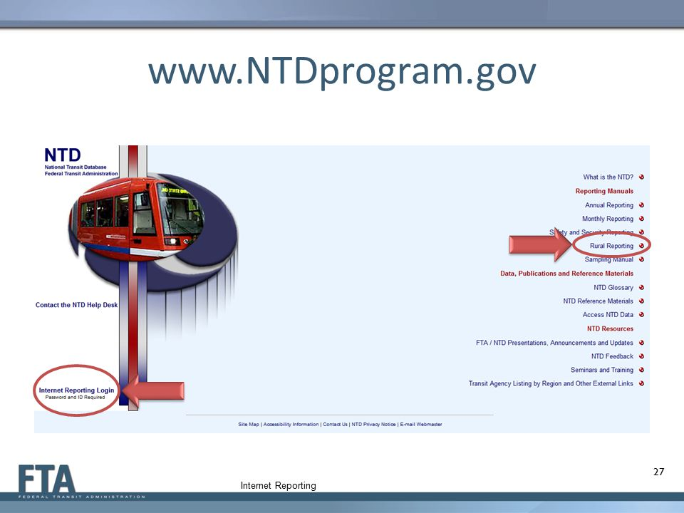 www.NTDprogram.gov Internet Reporting