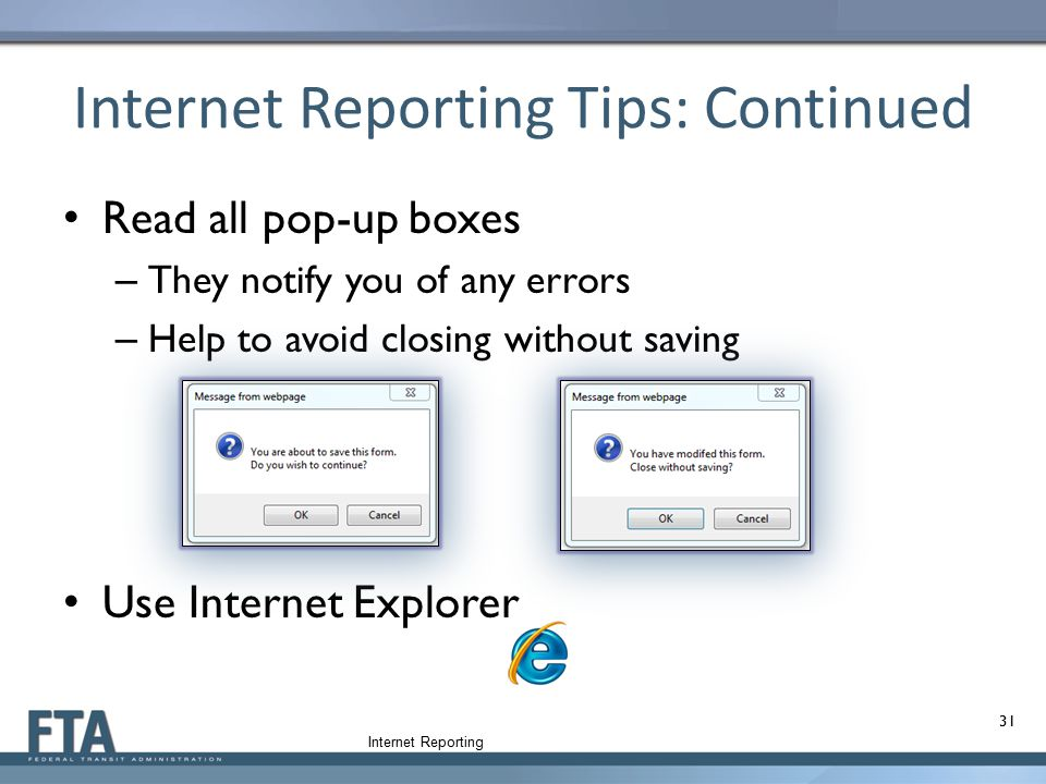 Internet Reporting Tips: Continued
