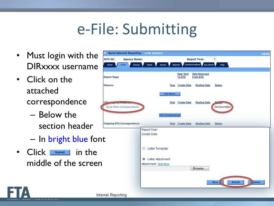 e-File: Submitting Must login with the DIRxxxx username