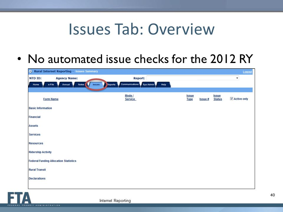 Issues Tab: Overview No automated issue checks for the 2012 RY