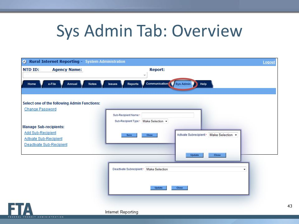 Sys Admin Tab: Overview