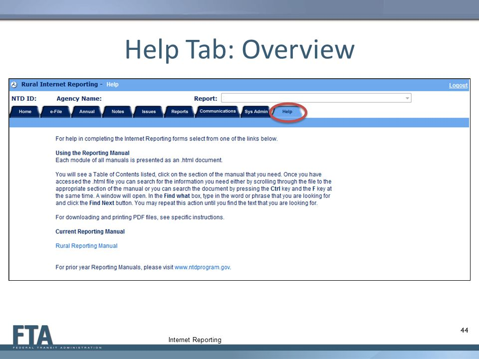 Help Tab: Overview Internet Reporting